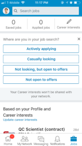 LinkedInのJob Activityのイメージ