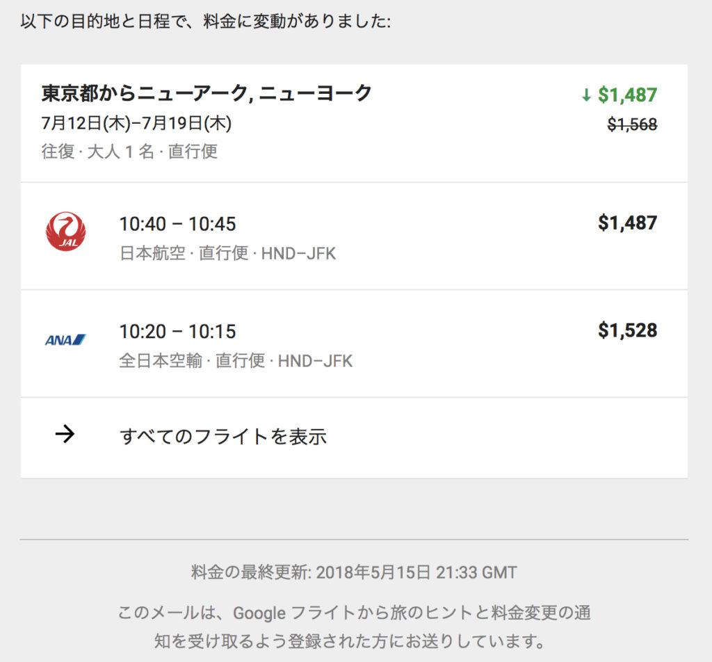 Google flight notification email