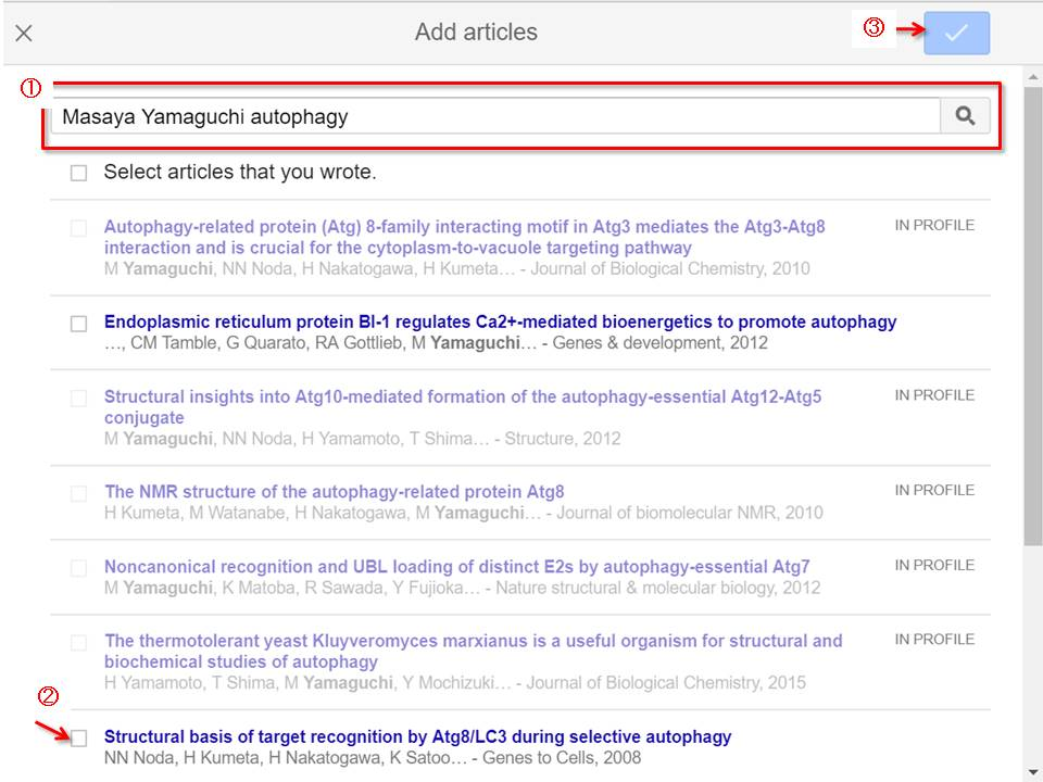 Google Scholar article list