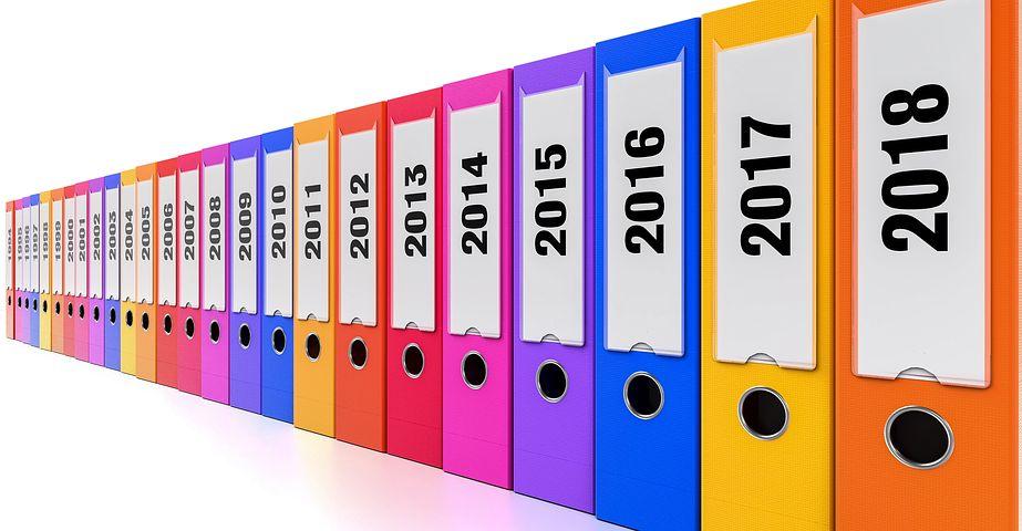 Folders year by year