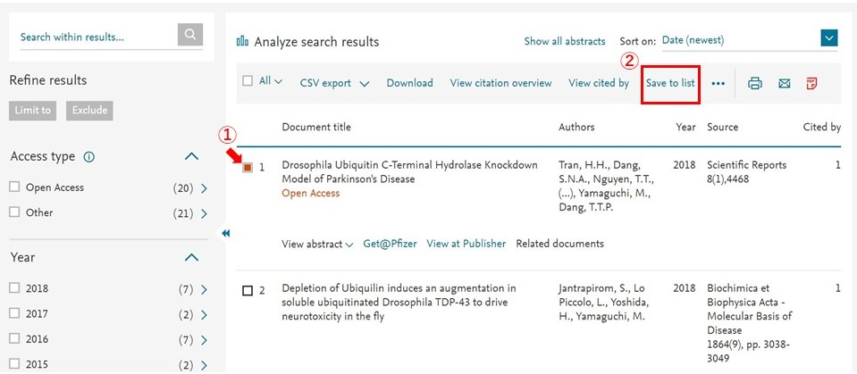 Scopus - search to save list